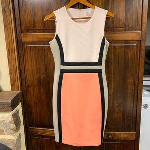Calvin Klein Cream,Orange & Black Sleeveless Dress
